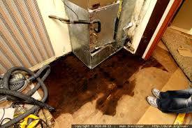 photo soaking wet plywood subfloor around the furnace by
