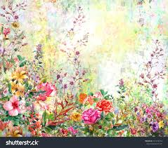 abstract flowers watercolor painting spring multicolored stock