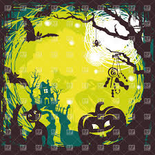cartoon cute halloween background with spooky house pumpkin and