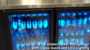 sliding glass door fridge true undercounter refrigerator with glass doors and led lighting