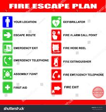 Fire Evacuation Route Plan by Set Symbols Fire Escape Evacuation Plans Stock Vector 491556253
