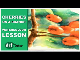 Glynis Barnes Mellish Watercolor Lesson Cherries On A Branch Part 1 Youtube