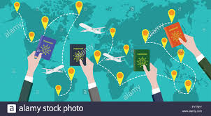 traveling around the world images Traveling around the world with people hand passport stock vector jpg