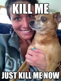 Kill Me Meme - kill me just kill me now seriously uncomfortable dog quickmeme