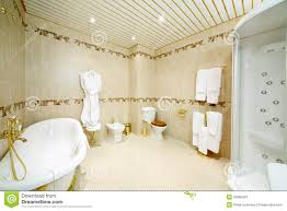 clean bathroom with bath shower cabin toilet and bidet stock