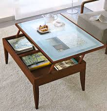 Living Room Table With Storage Furniture Fantastic Brown Textured Wood Folding Coffee Table