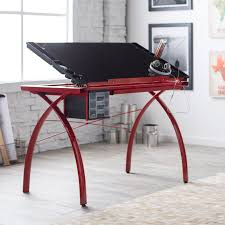 Drafting Table Computer Desk by Studio Designs Red Futura Glass Top Drafting Station Hayneedle
