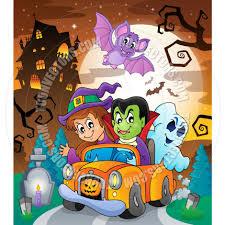 halloween scenes cartoon halloween topic scene by clairev toon vectors eps 70509