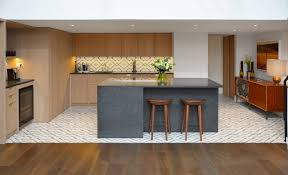 kitchen design and decoration using l shape birch wood laminate