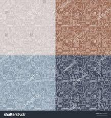 collection seamless pattern modern furnituretemplate design stock