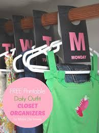 Closet Hanger Organizers - kids daily hanging closet organizers free printable