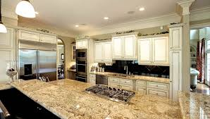 countertops white kitchen island with black granite top also