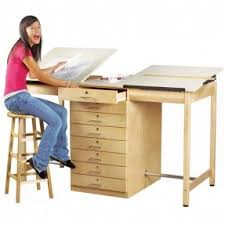 drafting table with drawers foter