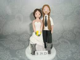 custom handmade bride u0026 groom with cats wedding cake topper