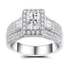 women s engagement rings radiant cut white sapphire sterling silver women s engagement ring