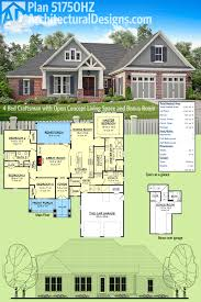 plan 51750hz 4 bed craftsman with open concept living space and