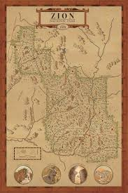 map of zion national park zion national park map print hikeanddraw