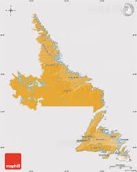 Newfoundland Canada Map by Political Shades Map Of Newfoundland And Labrador Cropped Outside