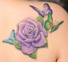 purple rose flower and three butterflies tattoo design idea