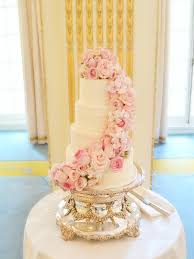 wedding flowers london pink cascade floral wedding cake at mandarin london
