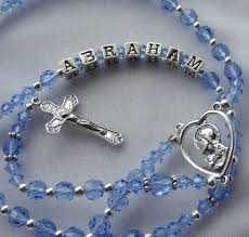 personalized rosary sterling silver blue personalized rosary communion