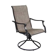 Swivel Patio Dining Chairs Shop Garden Treasures Set Of 2 Cascade Creek Black Sling Steel