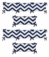 navy blue and white chevron collection crib bumper by sweet jojo