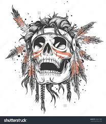 skull of an indian warrior vector illustration war paint and