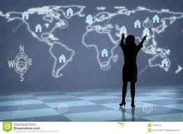 Global Houses Silhouette Woman Global Real Estate Stock Photo Image 51858763