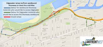Cleveland Rta Map Lakefront West Edgewater Ramps To From Westbound Shoreway To