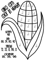 coloring pages thanksgiving math color by number
