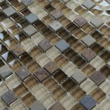 Stone Glass Mosaic TileSsmoky Mountain Square Tiles With Marble - Stone glass mosaic tile backsplash