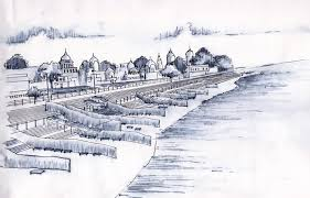 the riverfront ghats of ayodhya sketch with courtesy by krishna