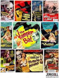 retro horror digital printable collage sheet vintage b movie