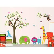 stickers chambre d enfant arbre coloré et animaux stickers muraux amovibles décoration