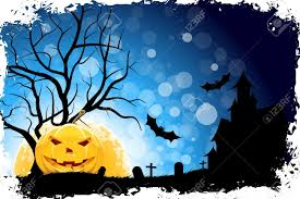 grungy halloween background with pumpkin tree grave cross