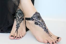 barefoot sandals boho wedding barefoot sandals black silver lace sandals bridal