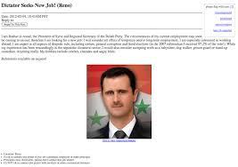 Seeking On Craigslist Syrian Dictator Seeking Work On Craigslist