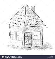 cute little house sketch illustration rasterized copy stock