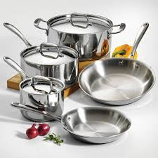Non Stick Cookware For Induction Cooktops Tramontina 8 Piece 18 10 Stainless Steel Tri Ply Clad Cookware Set