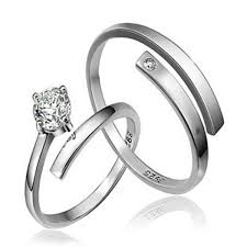 sale silver rings images Hot sale 2pcs cz stone sterling silver ring couple rings wedding jpg