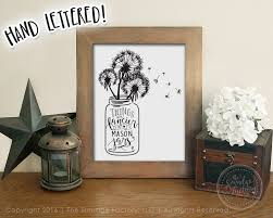 mason jar printable file dandelion wall art hand lettered