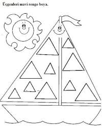 triangle worksheets for preschool trace and color crafts and