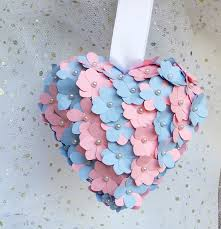 pink and blue heart paper hydrangea flowers flowergirl accessory