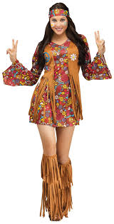 Kids Feelin Groovy Girls 70s Costume Disco Costumes Mr Costumes Fun World Costumes Women U0027s Peace Love Hippie Costume Brown