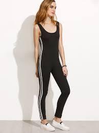 legging jumpsuit striped side scoop back legging jumpsuit shein sheinside