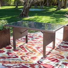 Outdoor Patio Dining Table Belham Living Monticello All Weather Wicker Rectangular Wood Top