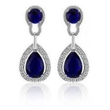 blue drop earrings vintage design luxury teardrop silver blue drop