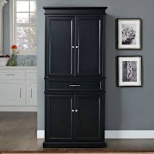 diy black kitchen pantry cabinet with four doors and one drawer