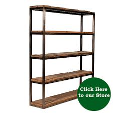 Iron And Wood Bookcase Reclaimed Wood Metal Bookcase Thesecretconsul Com